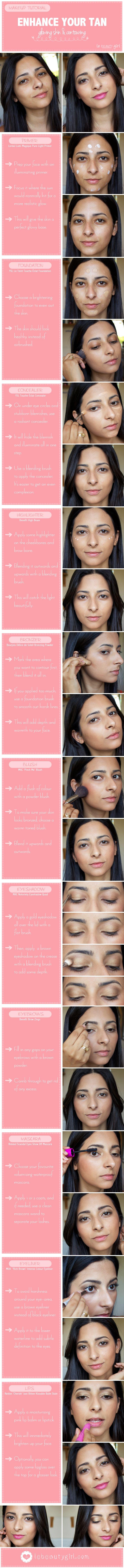 Enhance Your Tan: Glowing Skin & Contouring (Makeup Tutorial)