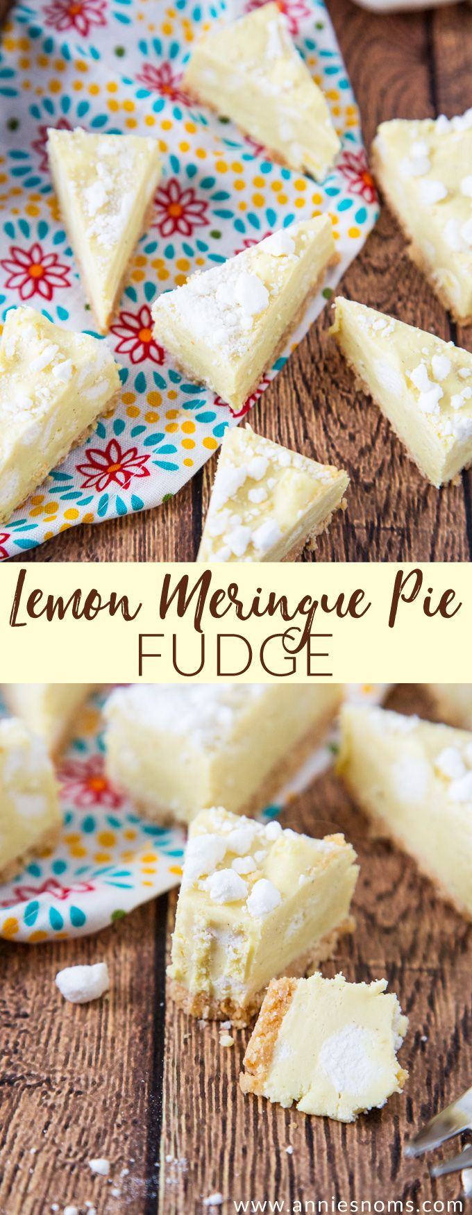 This Lemon Meringue Pie Fudge is ridiculously tasty and packed with lemon flavour and meringue pieces atop a shortbread base.