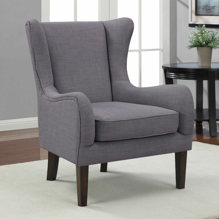 Grey wingback wing back curved wing chair modern formal - Upholstered benches for living room ...