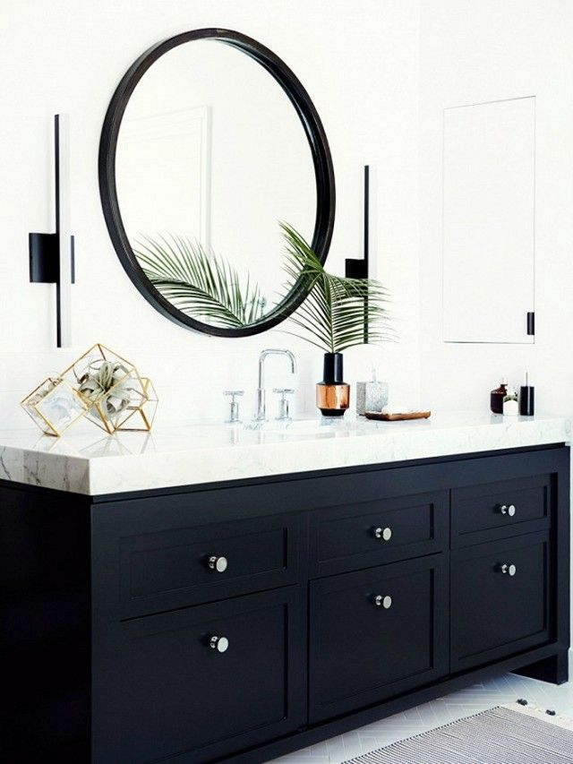 This Chic Item Can Make Any Room Look Bigger Black Cabinets BathroomBlack