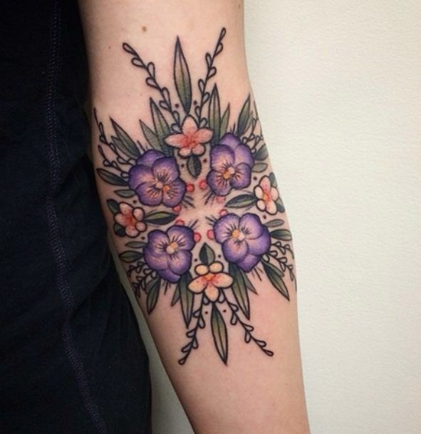 Floral Inner Elbow Tattoo Idea