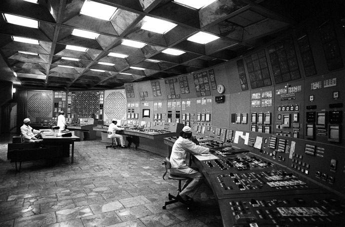 The control room of the Chernobyl nuclear power plant at Pripyat. (RIA Novosti)