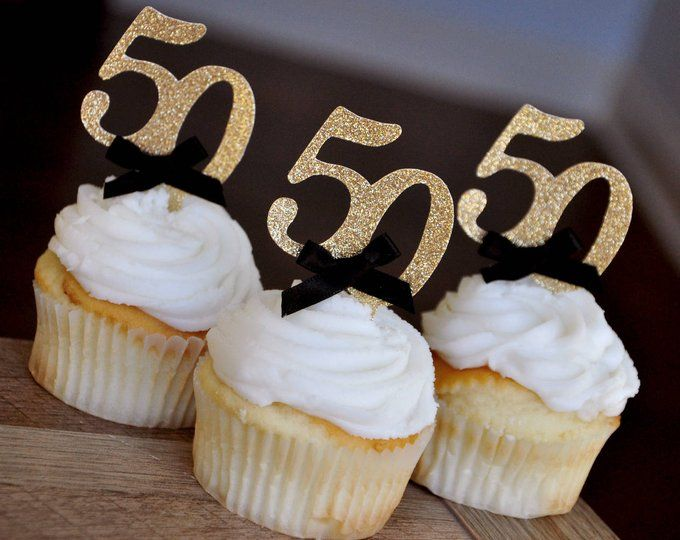 60th Birthday Party Ideas Glitter Gold Number60 Cupcake Toppers 12CT.