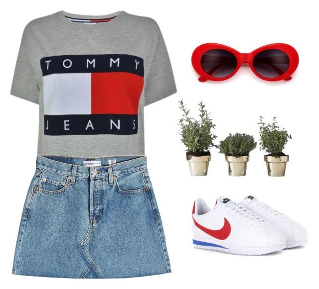 """Red in details"" by idilkovalii on Polyvore featuring NIKE, Tommy Hilfiger, RE/DONE and Skultuna"