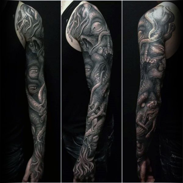 Realistic 3d Cthulhu Full Sleeve Mens Tattoo Deisgns
