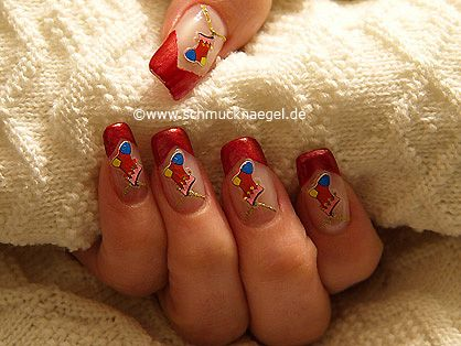 Nail art motivo 243 - San Nicolás calcetín diseño de navidad - http://www.schmucknaegel.de/