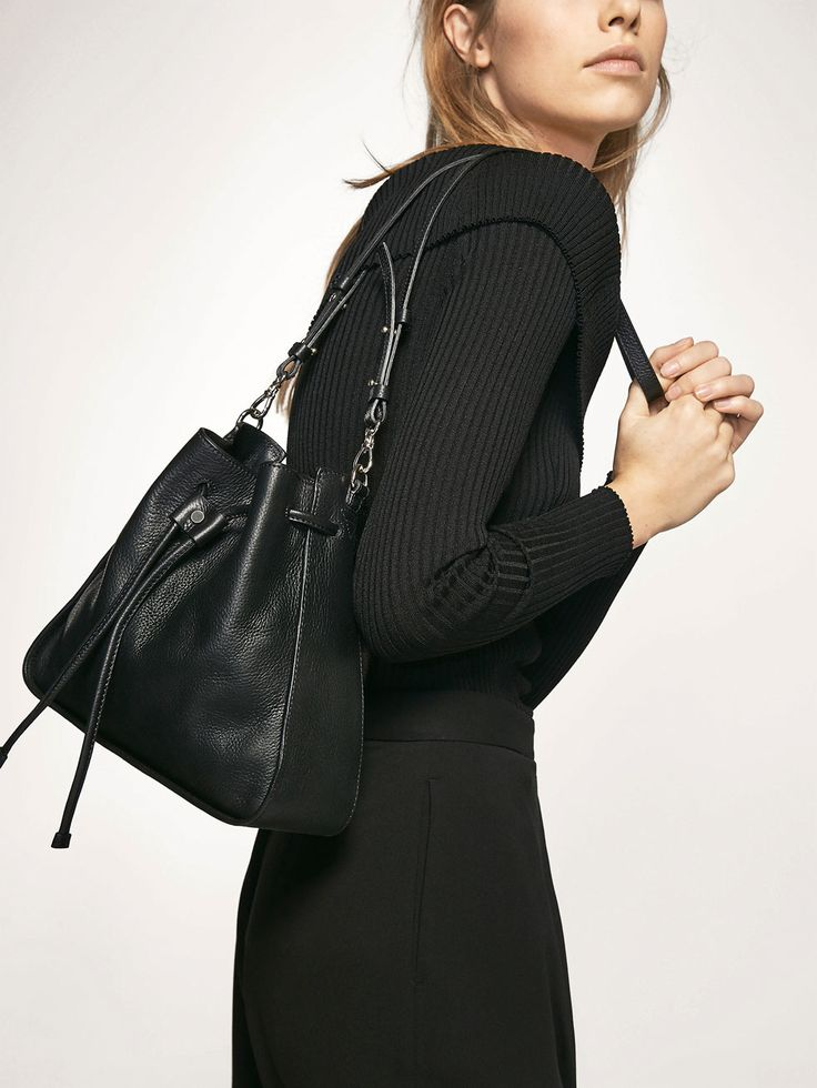 Massimo Dutti, Embossed leather bucket-style bag