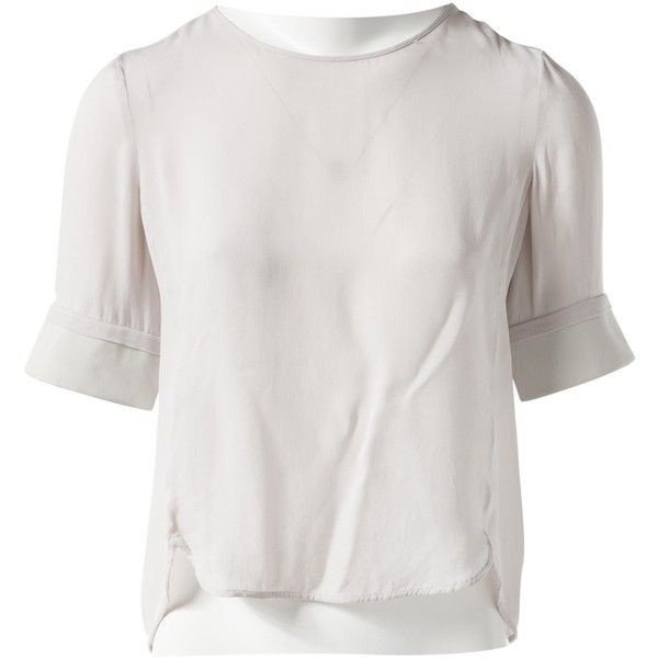 Pre-owned Emporio Armani Silk T-Shirt (11.150 RUB) ❤ liked on Polyvore featuring tops, t-shirts, grey, women clothing tops, silk tee, silk t shirt, emporio armani, emporio armani t shirt and silk top