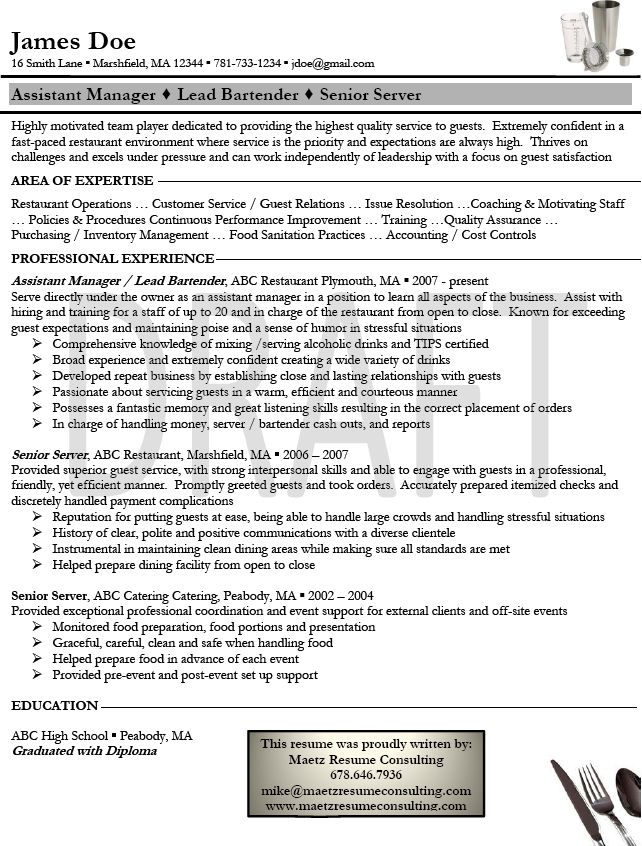 Hotel Manager Sample Resume Best Example Bartender