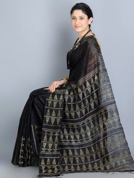 Black Matka-Tussar Silk Jamdani Handwoven Saree by Arundhati Menon Designs