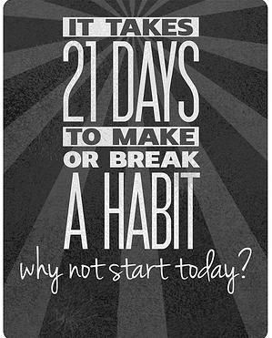 It takes 21 days to make make or break a habit Why not