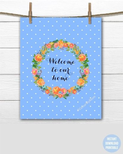 WATERCOLOR FLORAL WREATH Welcome Home Printable by ColourMyRoom