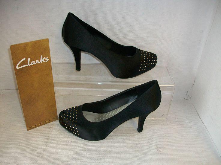 Ladies Clarks Drum Time Dark Black Satin Fabric Smart Court Shoes