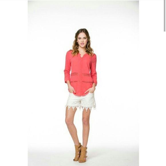 Button-Down Crochet Shirt Peach in Color. 100% Cotton. Cute and Comfortable Shirt. Monoreno Tops Button Down Shirts
