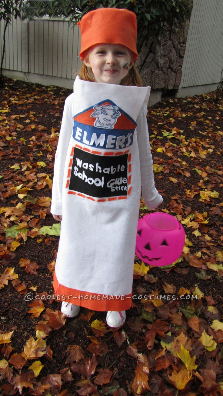 Cool homemade elmer 39 s glue stick costume for a girl for Cool halloween costumes for kids girls