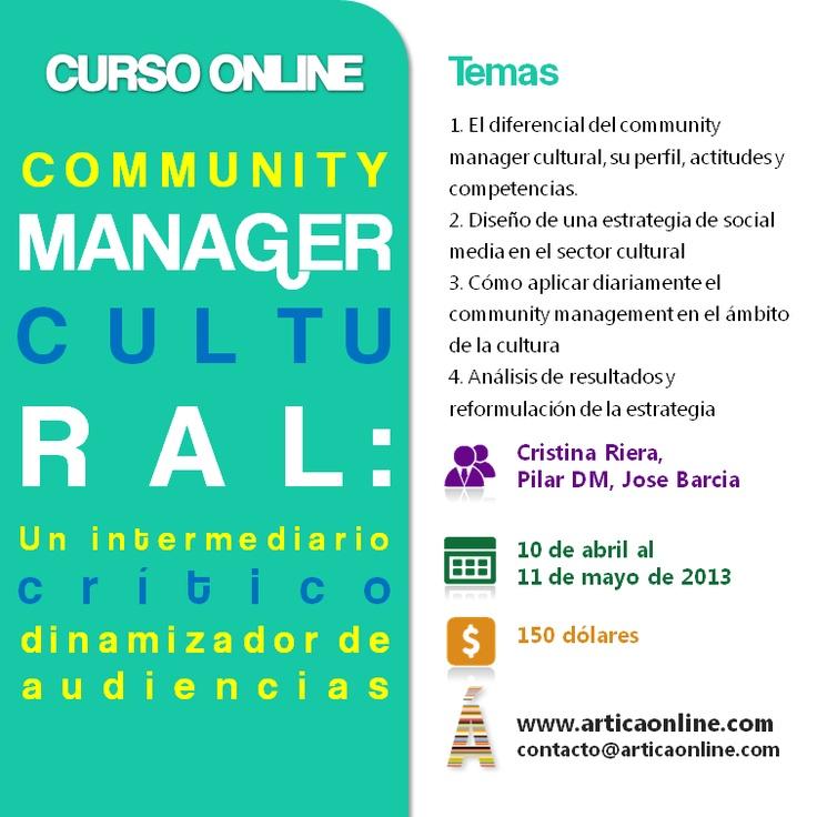 """#CMCultural Curso online """"Community Manager Cultural: un intermediario crítico y dinamizador de audiencias"""""""