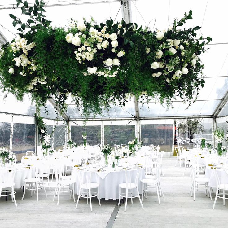 Hanging Floral Install, clear marquee, winter wedding