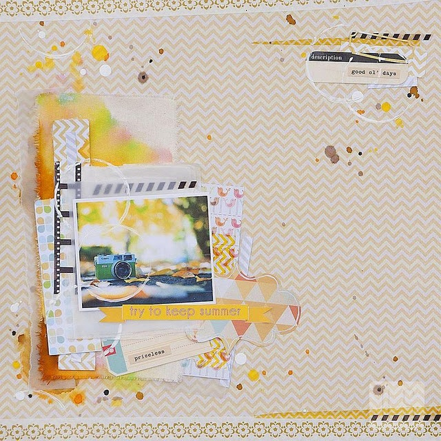 What I love about this is the strip of watercolor behind the layered stack- idea to layer self painted paper, fabric, and pattern paper