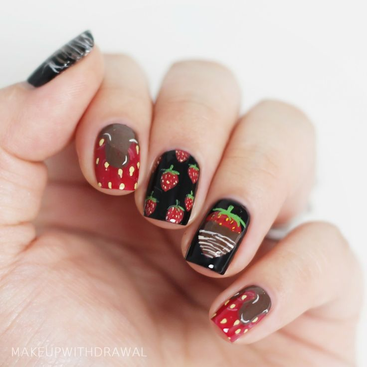 Best 25 strawberry nail art ideas on pinterest quirky diy nails two valentines day manicures prinsesfo Images