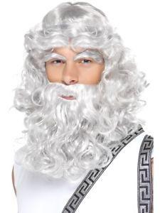 a romano griego dios zeus peluca barba ojos cejas largo gris disfraz hombre