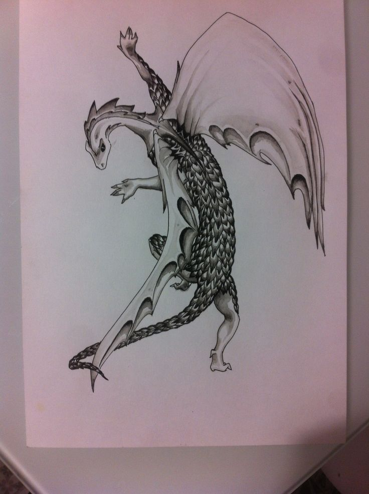 Dragon, Gel pen and water panting