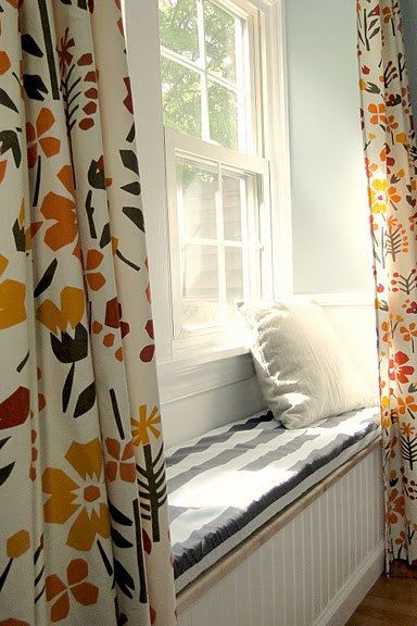 Window bench seat floral curtains curtain ideas for Window seat curtains