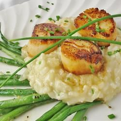 Seared Scallops on Shrimp and Truffle Risotto-Bon Appetit September 2003