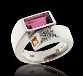 Ring 18kt Mandarine Garnet & Pink Tourmaline - Price: 1,390 € - Clarity: VS-Si / Metal: 18kt WG / Carats: 0.05 ct  - Direct with the owner in southern Europe - Email: andersonweb@outlook.com