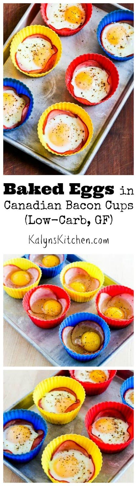 Baked Eggs in Canadian Bacon Cups are a fun idea for breakfast that's Low-Carb and Gluten-Free!  [from KalynsKitchen.com]