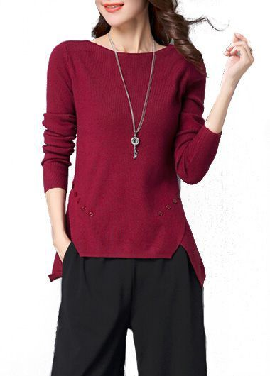 Slit Design Long Sleeve Round Neck Asymmetrical Sweater on sale only US$41.36 now, buy cheap Slit Design Long Sleeve Round Neck Asymmetrical Sweater at lulugal.com