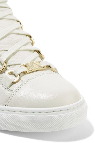 Balenciaga - Arena Crinkled-leather Sneakers - White - IT42
