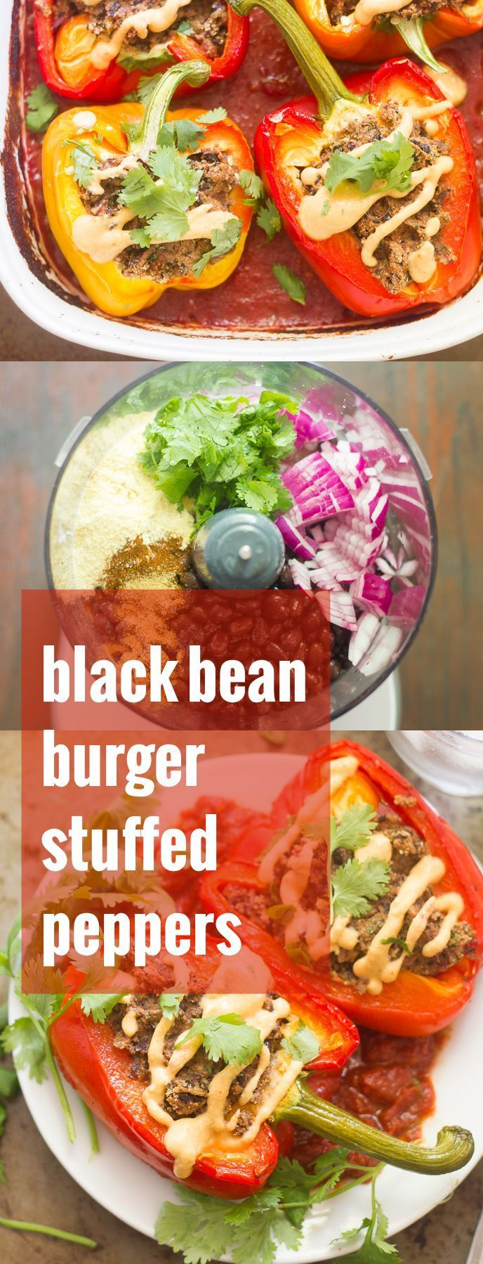 These vegan stuffed peppers are filled with a spicy southwestern-inspired black bean burger mix, baked to tender perfection, and drizzled in dairy-free cauliflower queso!