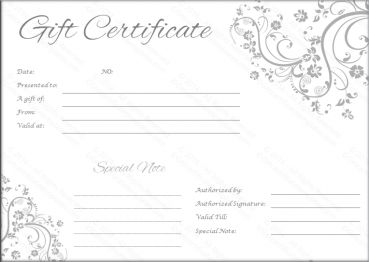 gift certificate layout