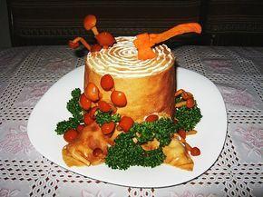 """Этот салат я увидела на дне рождения своей подруги и пришла в восторг - красиво невероятно! К тому же вкус потрясающий. Все гости не переставали восхищаться. теперь и я умею делать салат """"Пенек"""". Советую всем научиться и поразить гостей...Приготовл..."""