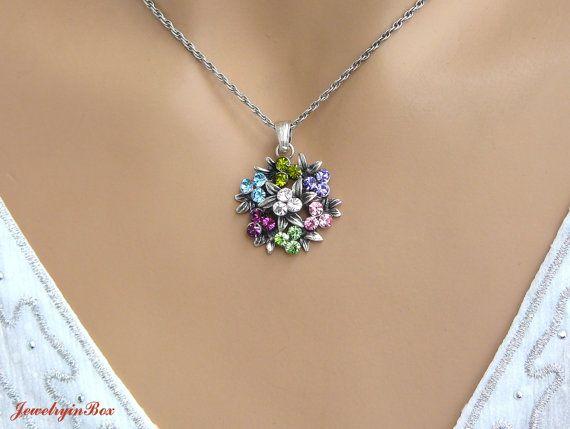 Swarovski Crystal Necklace with Blue Pink Light by JewelryinBox, $28.00