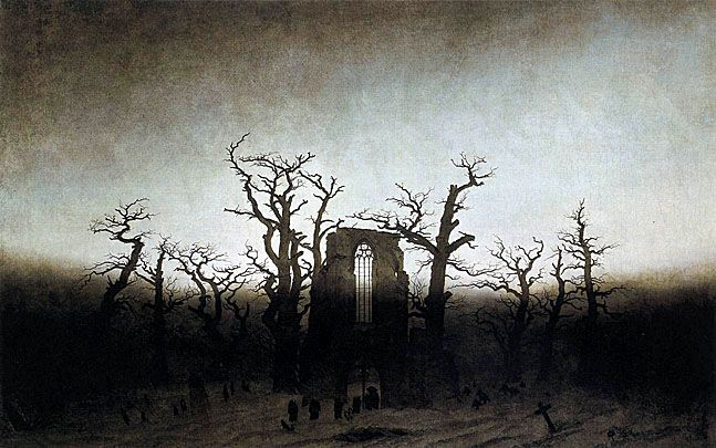Casper Friedrich- Abbey in the Oakwood. LOVE this one! Look at his use of light and shadow- ridiculously exciting and strong!