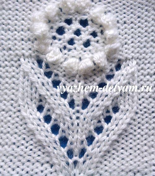 Узор цветок для вязания детям - схема и описание.Мотив с цветком, который можно использовать для вязания детских кофточек, пуловеров, свитеров или жакетов.