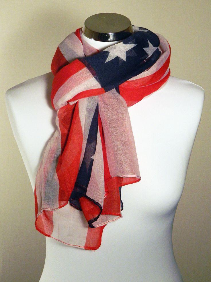 Foulard motif drapeau américain, bleu, rouge, blanc étoiles blanches