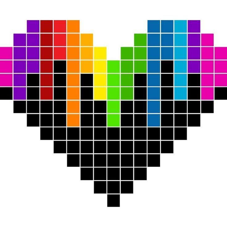 Rainbow Heart Pixel Graph Pixel Art Pixel Drawing Easy