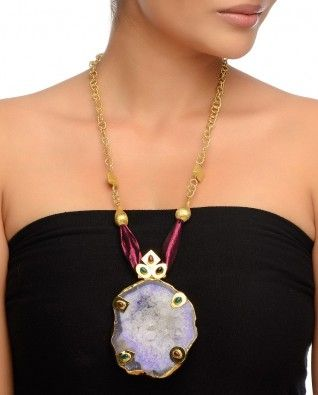 Golden Chain Necklace with Sugar Druzy Stone #Exclusivelyin #IndianEthnicWear #IndianWear #Fashion #Jewelry