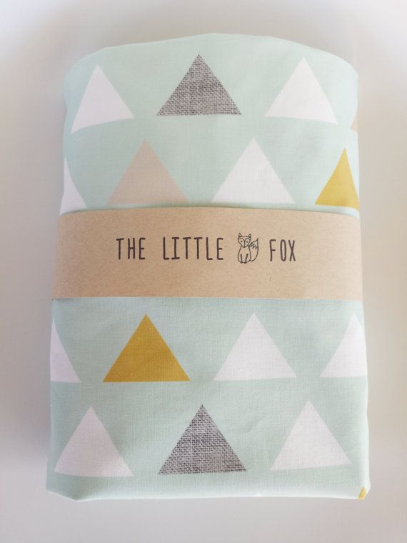 Mint Triangle Cotton Fitted Crib Sheet Cot Sheet to fit the Stokke Sleepi Cot Crib