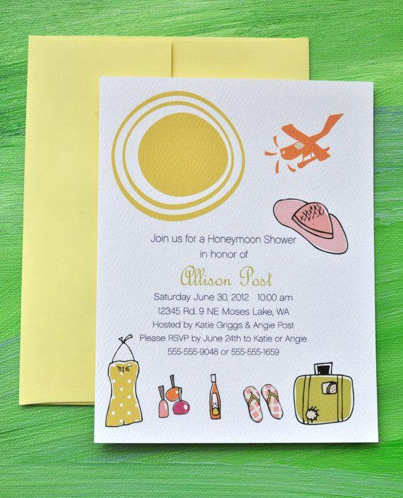 Honeymoon Bridal Shower Custom Invitation Set by emilyanndesigns, $18.00