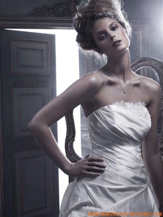 Robe blanche 2013 avec traîne magnifique drapé robe de mariée tulle taffetas