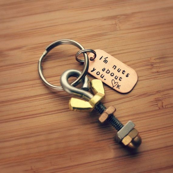 Nuts About You Keychain And Bolts Personalized Gift For Him Copper Custom Keyring Unique Christmas Tag Re It