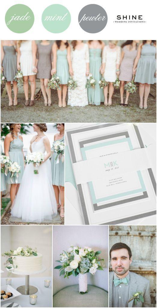 Mint + Jade + Gray Wedding Inspitation