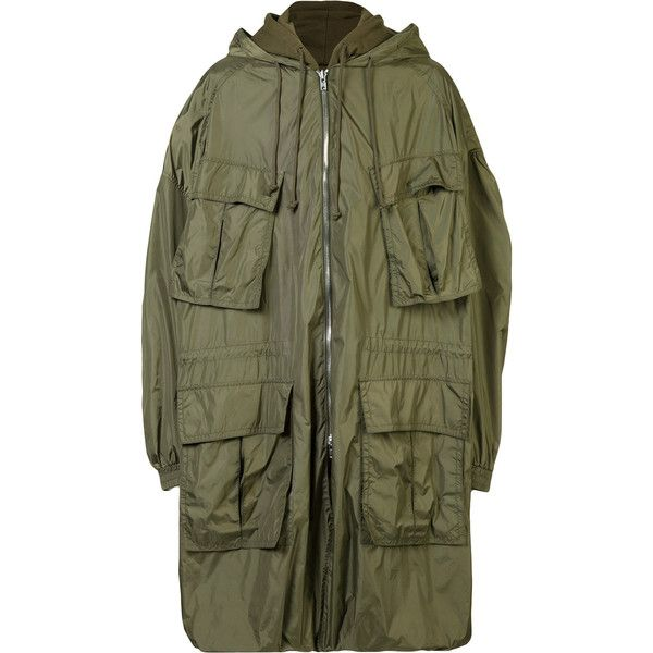 Juun.J hooded military jacket ($2,180) ❤ liked on Polyvore featuring men's fashion, men's clothing, men's outerwear, men's jackets, green, mens army green jacket, mens hooded jackets, mens green military jacket and mens green jacket