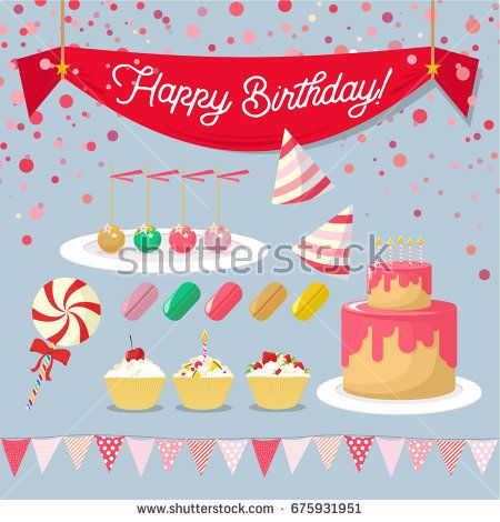 Vector set of elements for birthday for girls