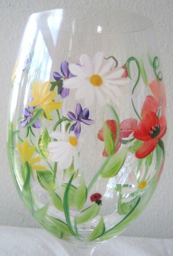 cristal de flores silvestres vino pintadas a mano juego de