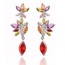 Cercei fashion Safiria pentru nunta si logodna cu cristale multicolore Cubic Zirconia