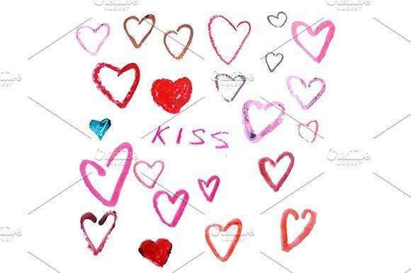Lipstick heart. eps+jpg by KSU's Little Shop on @creativemarket